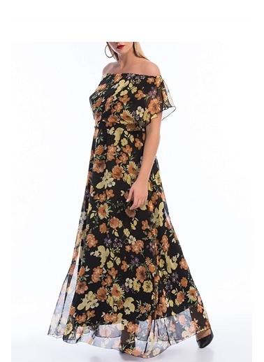 Angelino Butik Büyük Beden Şifon Uzun Elbise KL7881d Renkli